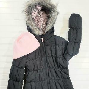 Weathertamer Girls Puffer Coat Fur Trimmed Hood